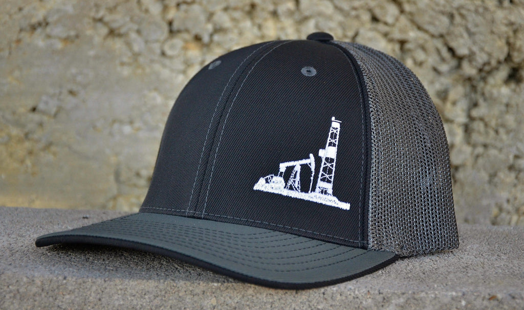 Hats - Black/Gray Fitted Oilman Hat
