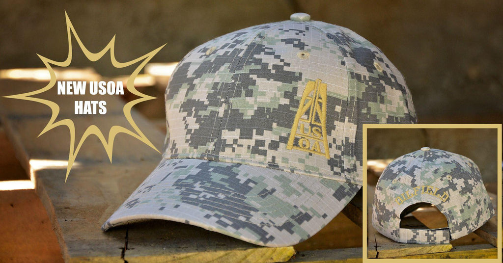 Hats - USOA Adjustable Digital Camo Caps-Army/Gold