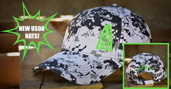 Hats - USOA Adjustable Digital Camo Caps-Black/Lime