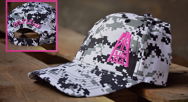 Hats - USOA Adjustable Digital Camo Caps-Black/Pink