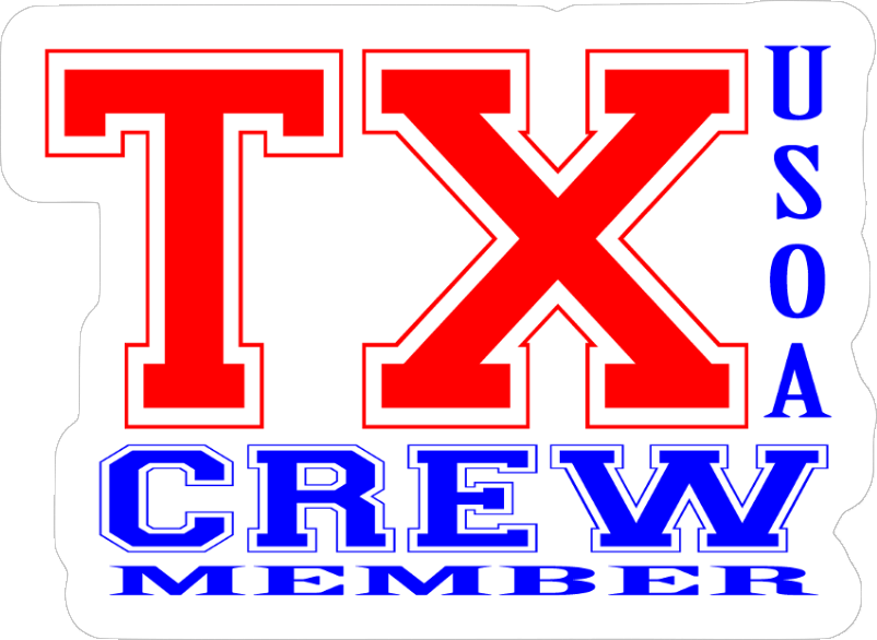 Texas Crew Member (RWB) Hard Hat Sticker