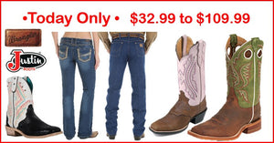 Today Only Sale 12.04.2015 Justin Boots-Wrangler Jeans Extended
