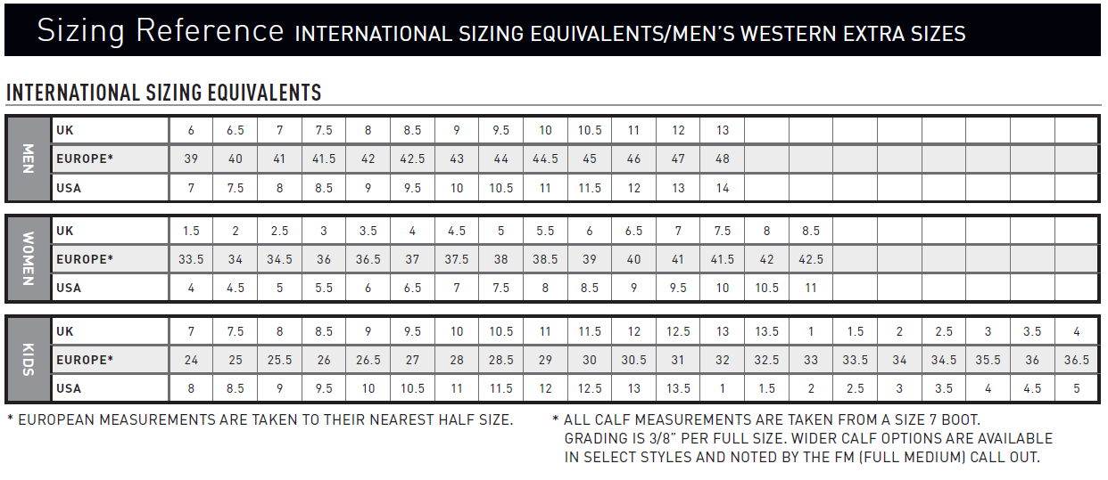 Boot Sizing Chart Partners Western Co Partners