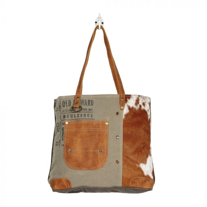 LEATHER POCKET TOTE BAG BY MYRA BAG
