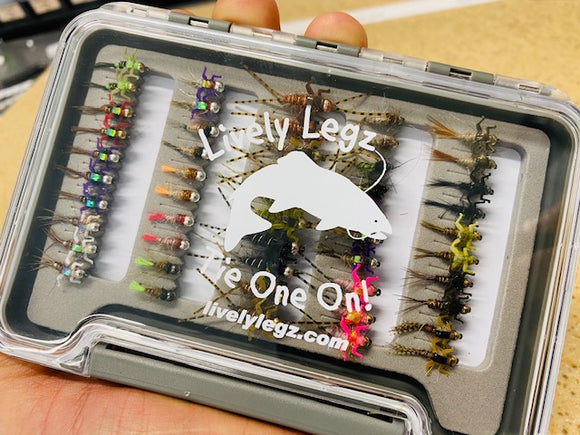 Lively Legz Barbless/ Tungsten Small Nymph Box (Preloaded with 50 Flies)