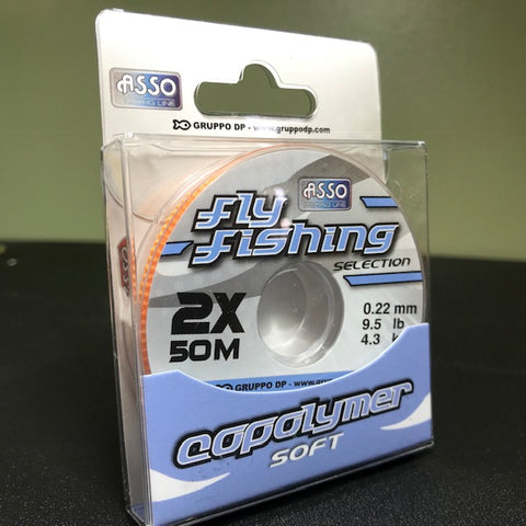 ASSO FLY FISHING COPOLYMER &  FLUOROCARBON SOFT TIPPET (Large 50 Meter Spool)