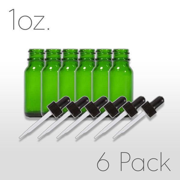 1 oz. Green Boston Round Bottle with Dropper - 6 pack