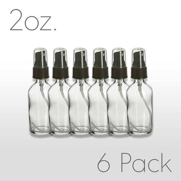 2 oz Clear Glass Bottle with Black Pump Sprayer 6 pack