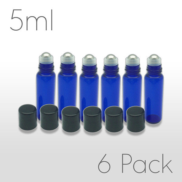 5 ml Blue Glass Bottles with Stainless Steel Metal Rollerballs & Black Lids - SET OF 6