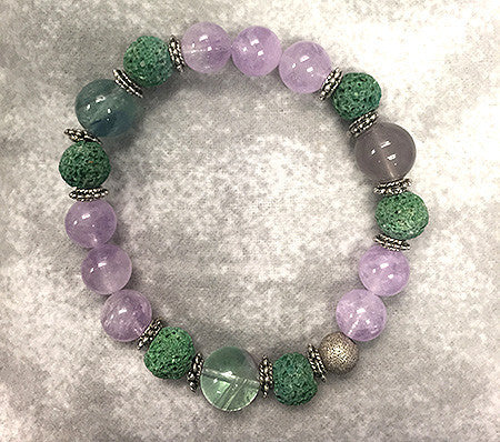 Amethyst and Green Lava Diffuser Bracelet