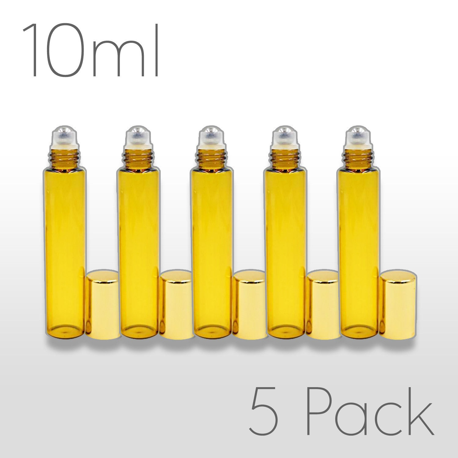 10 ml Amber Rollerballs with Steel Rollers - Set of 5