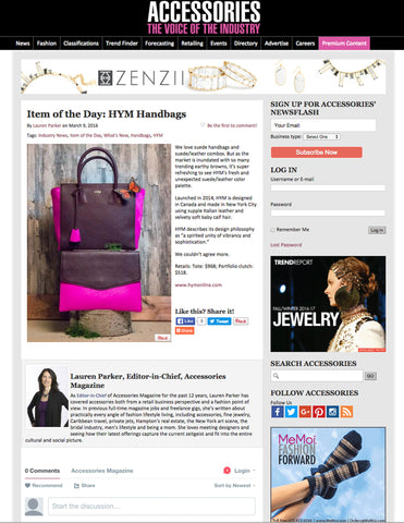 "Accessories Magazine ""Item of the Day"" - Hymonline,  Online Magazine, Hymonline, Hymonline"