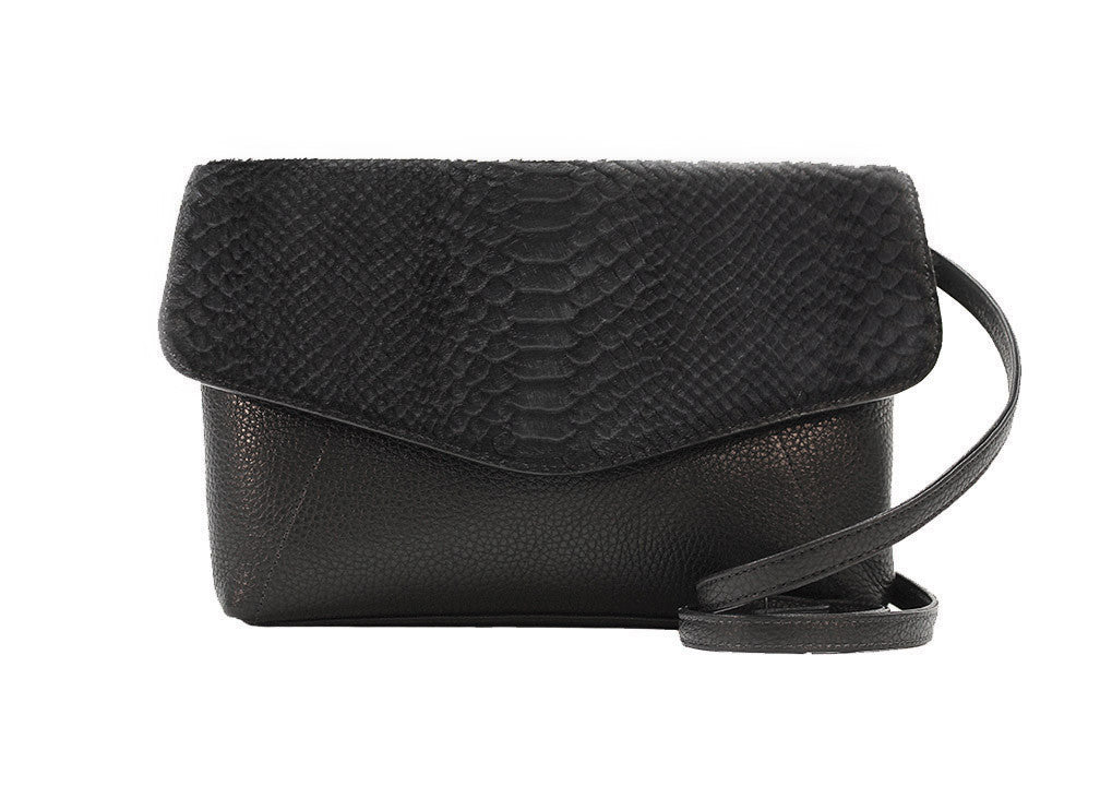 Permanent Collection Crossbody: Black w/ Embossed Python - Hymonline,  , HYM, Hymonline
