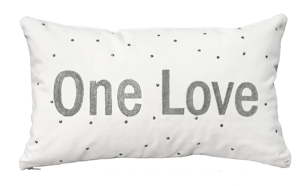 """One Love"" Lumbar Pillow in Silver"