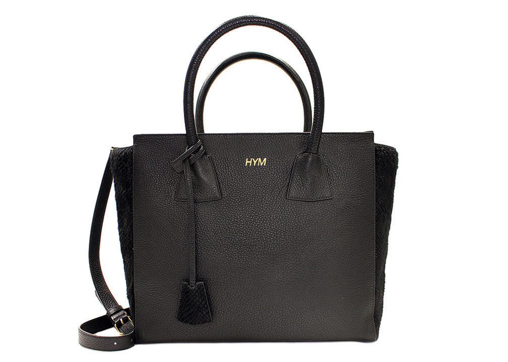 Permanent Collection Tote: Black w/Embossed Python - Hymonline,  , HYM, Hymonline