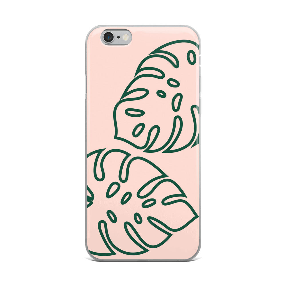 Palm Leaves in Peach iPhone Case