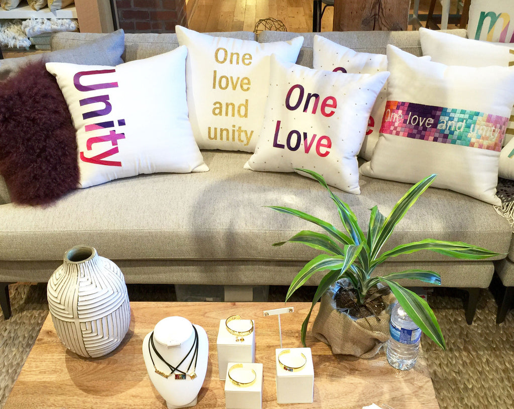 Decorative Pillow One love and unity rainbow embroidered silk cotton canvas- HYM online west elm local toronto canadian