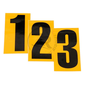 Black Number Sticker, Yellow Background