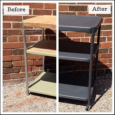 Metal Cart refinished with Graphite Chalk Paint® - by MECO7