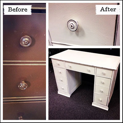 Desk refinished with Old White & Paloma Chalk Paint® - by MECO7