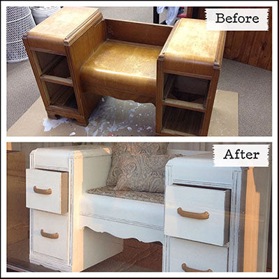 Vanity turned Bench, painted with Pure White Chalk Paint® - by MECO7
