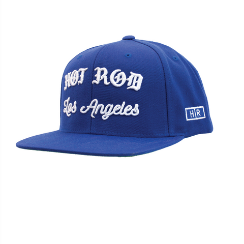 HOT ROD SIGNATURE LA SNAPBACK HAT CITY IN DISTRESS SERIES (RIP Los Angeles) BLU/WHT