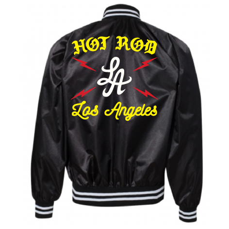 "HOT ROD ""HIGH VOLTAGE"" SATIN TEAM JACKET (BLACK)"