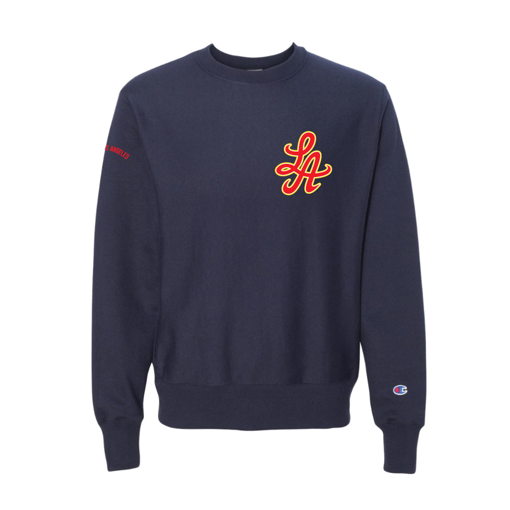 HOT ROD SIGNATURE LA CHAMPION REVERSE WEAVE CREW (NAVY/CARDINAL RED)