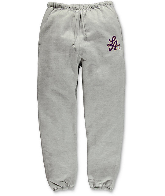 HOT ROD SIGNATURE LA CHAMPION REVERSE WEAVE SWEATPANT (GREY/PURPLE)