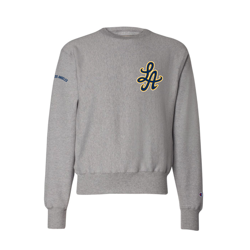 HOT ROD SIGNATURE LA CHAMPION REVERSE WEAVE CREW (HTR GREY/ BLUE/GOLD)