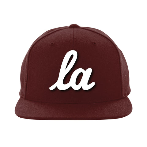 Hot Rod Script LA Snapback (Burgundy/White)
