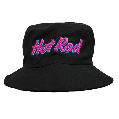 "HOT ROD ""AUGUST NIGHTS"" EMBROIDERED BUCKET HAT (BLACK)"