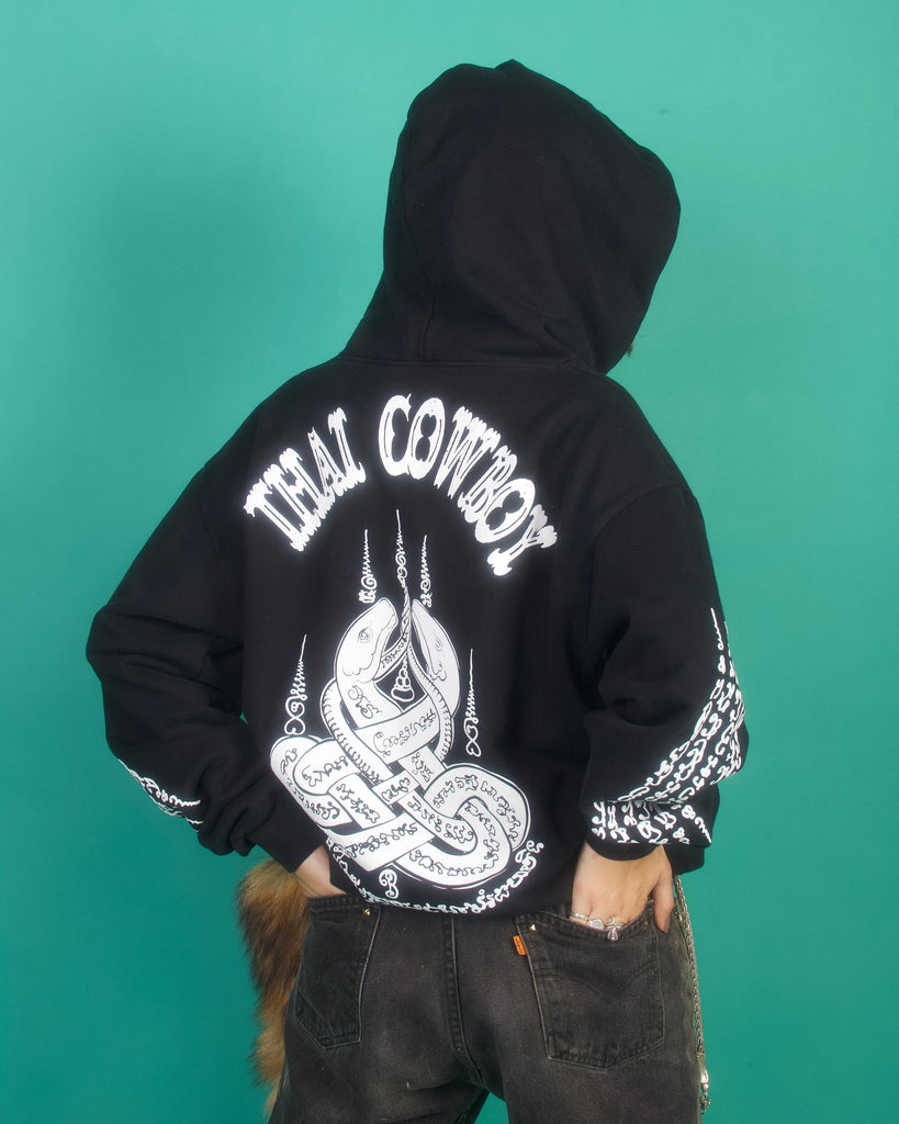 "THAI COWBOY ""MUAY THAI"" OVERSIZED HEAVYWEIGHT HOODIE (BLACK)"