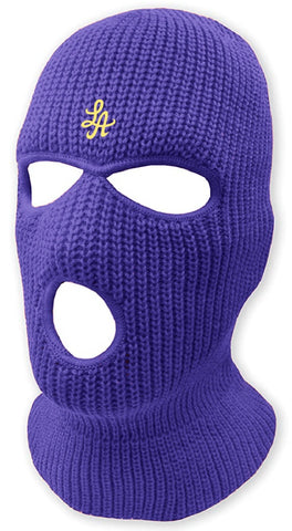 HOT ROD LA LOGO BURGLARY MASK  (PURPLE/GOLD)