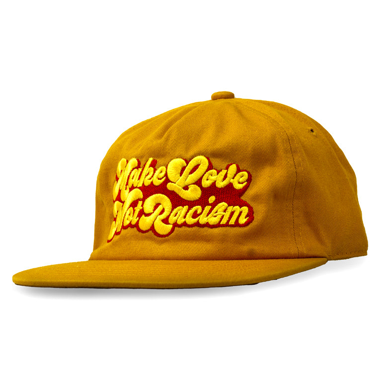 "ONLY THE LONELY ""MAKE LOVE"" EMBROIDERED 5-PANEL DECONSTRUCTED HAT (MUSTARD)"