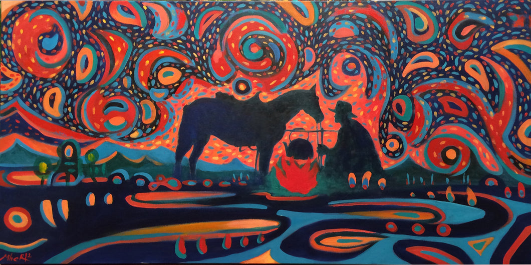Cowboy horse and starry night