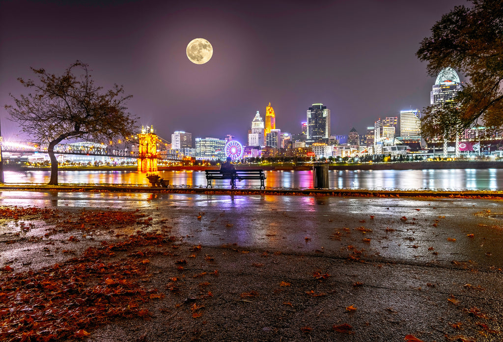 Cincinnati Skyline, Panoramic with moon