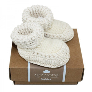 knitted booties ecru, 0-3