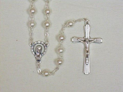Pearl Bead Rosary - Medium White & Silver  - St. Patrick's Gift Shop & Bookstore