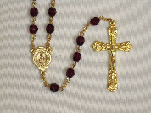 Crystal Cut Rosary Garnet/Gold Tone Default Title - St. Patrick's Gift Shop & Bookstore