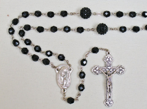 Crystal Cut Rosary w/ sparkle Our Father beads Black Default Title - St. Patrick's Gift Shop & Bookstore