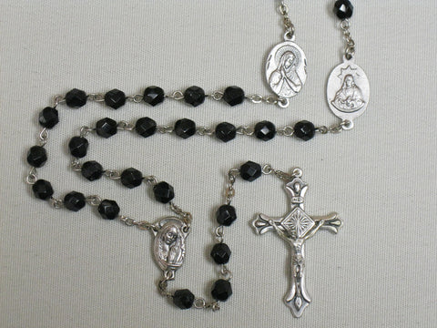 Black Crystal Cut Seven Sorrows Rosary  - St. Patrick's Gift Shop & Bookstore