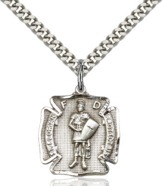 "SS St. Florian Shield Medal/ 24"" Curb Chain  - St. Patrick's Gift Shop & Bookstore"
