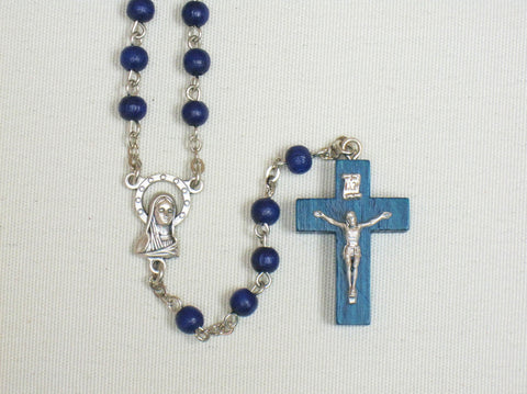 Small Blue wood bead Rosary  - St. Patrick's Gift Shop & Bookstore