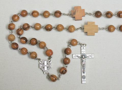 Olive Wood Rosary w/ Silver Jerusalem Cross Centre  - St. Patrick's Gift Shop & Bookstore