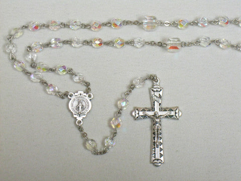 Rosary with square Our Father beads Clear Default Title - St. Patrick's Gift Shop & Bookstore