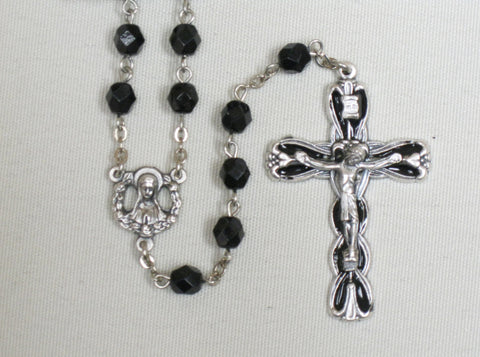 Black Crystal Cut Rosary w/ Rose Centre & Large Crucifix  - St. Patrick's Gift Shop & Bookstore