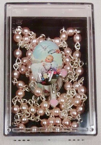 Pink and Silver Baptism Rosary  - St. Patrick's Gift Shop & Bookstore