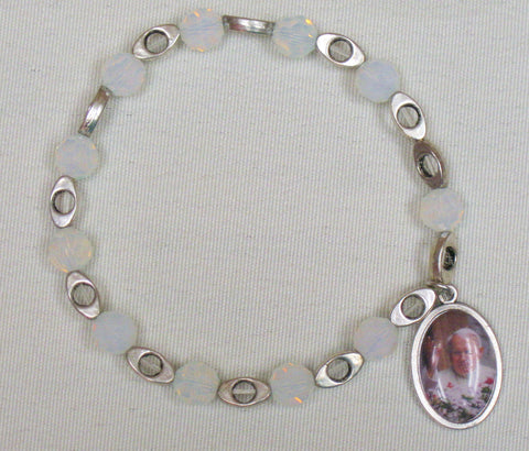 Rosary Bracelet w/ Angel Medal John Paul II w/ Praying Hands Silver Pearl Default Title - St. Patrick's Gift Shop & Bookstore