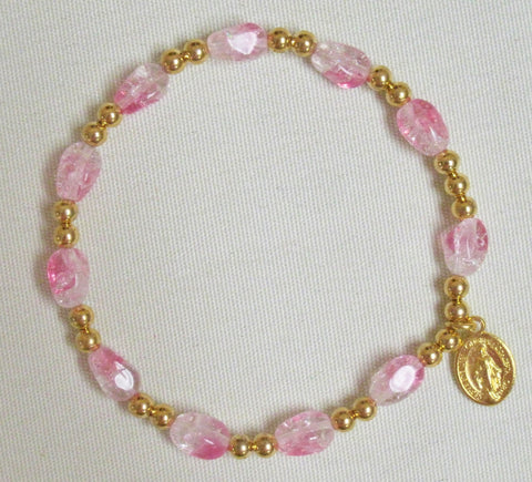 Rosary Bracelet (Oval Beads) Pink Crystal w/ Gold Default Title - St. Patrick's Gift Shop & Bookstore